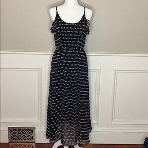 Who What Wear Printed Ruffle Detail Maxi Dress